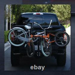 2-Bike Trailer Tow Hitch Mount Bicyle Rack Adjustable Foldable Carrier Kit GT07