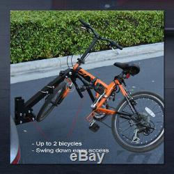 2-Bike Trailer Tow Hitch Mount Bicyle Rack Adjustable Foldable Carrier Kit GT14