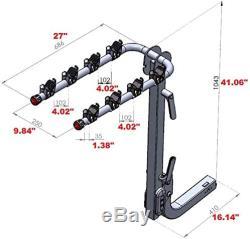 4-Bike Rack Premium Hitch Mount Carrier Quick Release Handle, Double Folding