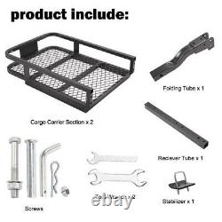 500 lbs Foldable Hitch Cargo Carrier Mounted Basket Luggage Rack with Stabilizer
