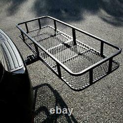 500LBS Folding Hitch Mounted Cargo Carrier Luggage Basket Black Fits 2 Receiver
