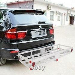 500LBS Heavy Duty Aluminum 2 Hitch Mount Cargo Carrier Truck Luggage Basket+Net