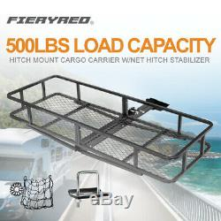 500lbs Hitch Mount Cargo Carrier Folding Luggage Basket withNet Hitch Stabilizer