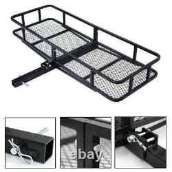 60 Foldable Cargo Hitch Mount Carrier Luggage Rack Mesh Basket Rear 500LBS