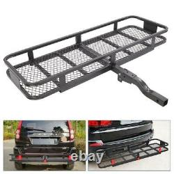 60 Folding Hitch Cargo Carrier Mounted Basket Luggage Rack with 2 Receiver