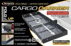60 Folding Hitch Mount Cargo Carrier Rack Cargo Basket-500lb Capacity, Luggage