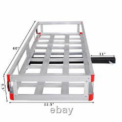 60 x 22 Aluminum RV 2 Hitch Mount Cargo Carrier Truck Luggage Basket 500LBS