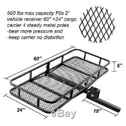60 x 24 X 6 Trailer Steel Hitch Mount Cargo Carrier Luggage Basket 500LBS