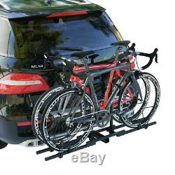 Black Heavy Duty 2 Bike Bicycle Rack Truck Car Tow Bar Hitch Mount Carrier