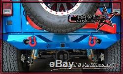 Crawler Conceptz US Mid Width Rear Bumper with Hitch Tabs & Carrier 07-18 Jeep JK