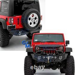 Front +Rear Bumper+Winch Plate+Fog Light Mount+Hitch for 07-18 Jeep JK Wrangler