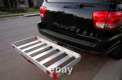 HITCH MOUNT CARGO CARRIER Vehicle Rear Aluminum Travel Rack 500 lbs Capacity NEW