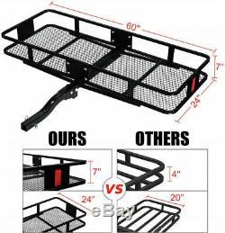 Heavy-Duty Foldable Hitch Mount Cargo Carrier Steel Basket Trailer 2 Receiver