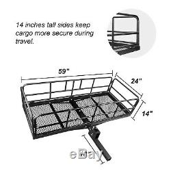 High Side Hitch Mount Cargo Rack Carrier Luggage Basket+4' x 6' Bungee Cargo Net