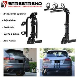 Hitch Mount Bike Rack 2-Bicycle Style Adjustable Foldable Trailer Carrier 2 S1
