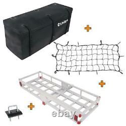 Hitch-Mount Cargo Carrier Mounted Basket Luggage Rack, Waterproof Cargo Bag, Net