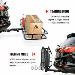 Hitch Mount Cargo Carrier with Cargo Net Folding Cargo Basket 500Lb fit Car SUV
