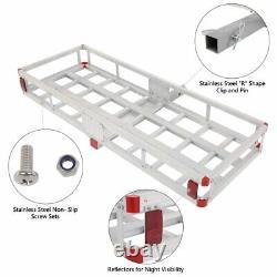 Hitch Mount Folding Cargo Carrier Car SUV Truck Basket Rack Luggage Bag Net Set