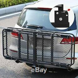 Hitch Mount Folding Cargo Carrier Luggage Basket 60 L x 24 W x 6 H 500 LBMax