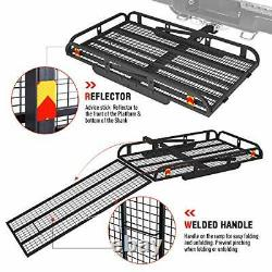 Hitch Mount Steel Cargo Carrier Basket with Folding Wheelchair Ramp Fits Trailer