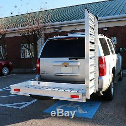 Hitch Mounted Aluminum Carrier With Ramp For Mobility Wheelchairs and Scooters
