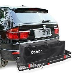 Hitch Mounted Cargo Carrier Luggage Basket Trailer Receiver Rack Truck Bag+Net