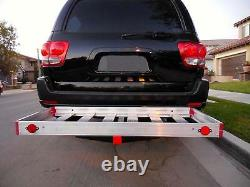 Hitch Receiver Mounted Cargo Load Carrier Platform Rear Rack Aluminum 500 lbs