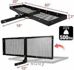 Livebest Hitch Rack Folding Mounted Cargo Carrier Luggage Basket Car 2 Receiver