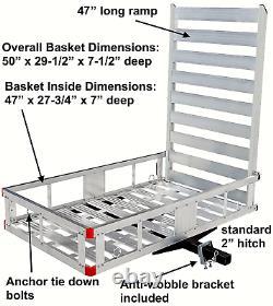 MAXXHAUL 80779 Aluminum Hitch Mount Cargo Carrier with 47 Long Ramp