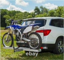NEW 450 Lb. Receiver Mount Aluminum Motorcycle Dirt Bike Carrier Rack With Ramp