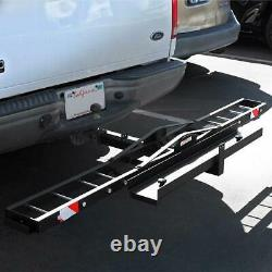 New 2 Receiver Hitch Mounted Steel Motorcycle Scooter Carrier Mount Rack Black