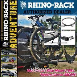 Rhino Rack Dual Trekker Platform Hitch Mount 2 Bike Carrier With Lock RBC048