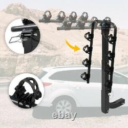 Tow Bar Hitch Mount Rack for 4 Bikes Car Rear Heavy Duty Steel Bicycle Carrier
