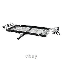 Tow Tuff 62 Inch Steel Cargo Carrier Trailer for Car or Truck with Bike Rack