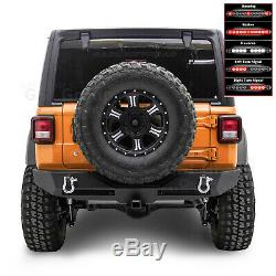 Xtreme Rear Bumper+TWIN LED Tail Light Bar+2 Hitch for 18-19 Jeep Wrangler JL
